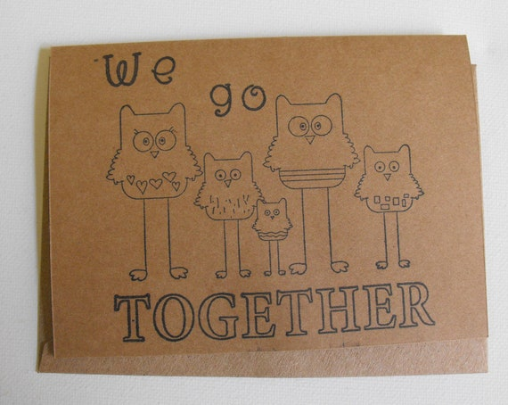 Owl Family Stationery Adoption cards New Baby set of six Kraft color by The Paper Peddler