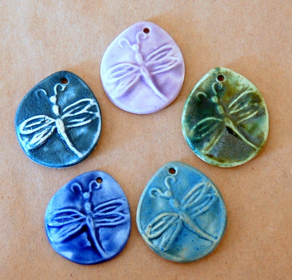 5 Handmade Ceramic Dragonfly Beads
