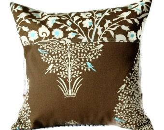 Songbird Outdoor Pillow in Chocolate Brown & Robins Egg Blue, patio pillow, porch swing, bird, bench pillow, striped, modern, indoor outdoor
