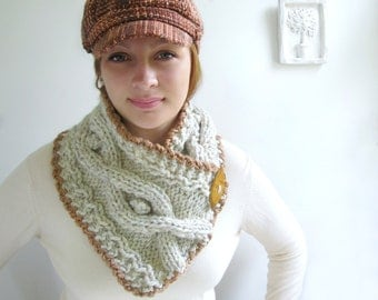 Cabled Scarf in Natural Heathered Wheat. Caramel Crocheted Trim. Handknit. Classic.