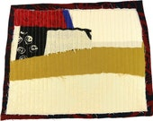8.9.2012 small art quilt, contemporary, abstract, cream, off-white, rust, black, ochre, blue, black and white, dark red