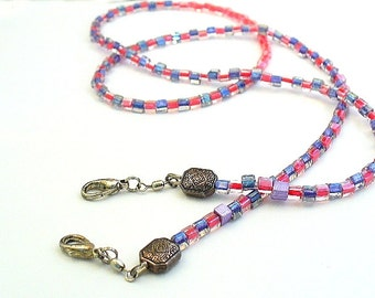 Beaded Lanyard, ID Badge Necklace, Glasses Chain, Red and Purple Brooch Converter - O2012-02