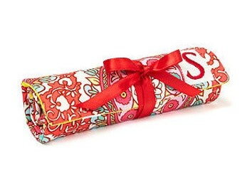 Destination Wedding Bridesmaids Favor Gift Angelica Red - Travel Jewlery Roll Case with Monogram