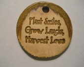 PLANT SMILES handmade pottery clay pendant bead tag