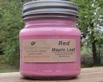 RED MAPLE LEAF Soy Candle - Highly Scented