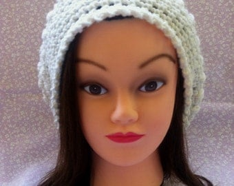 ON SALE, Crocheted Off White Shimmer Slouchy Hat