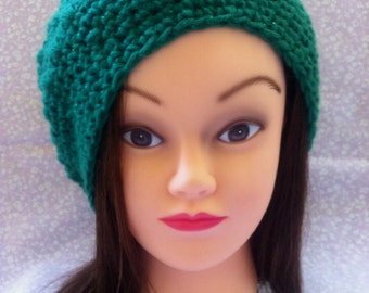 ON SALE, Crocheted Green Shimmer Slouchy Hat