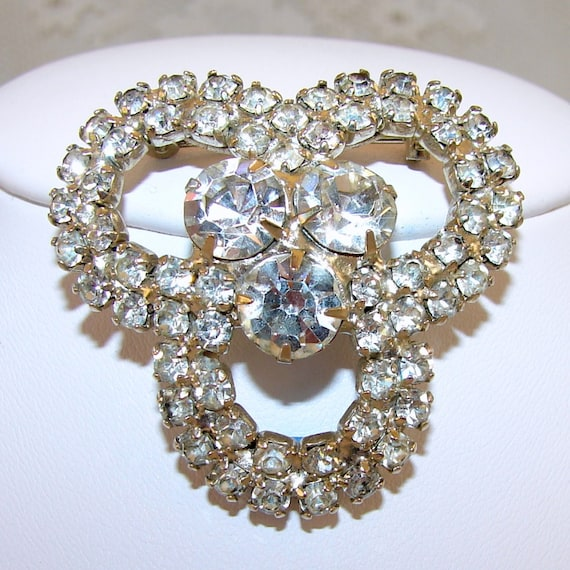 Vintage Rhinestone Jewelry Brooch Wedding Bridal Formal Pageant
