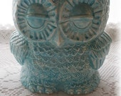 Owl Planter Home Decor  in Aqua Bank or Cannister