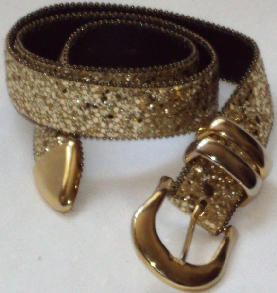 Vintage Accessories Classy Gold Glitter Belt by A. Brod Woman's Size Medium