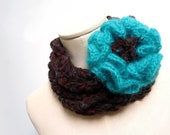 Scarf Necklace, Loop Infinity Scarf, Crochet Scarlette, Neckwarmer - Brown with Teal Green Giant Flower - Handmade