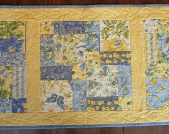 Blue and Yellow Floral Quilted Table Runner