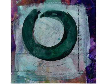 "Enso Painting, Zen Circle Art, ""ZEN CIRCLE 23""  - Original tiny Enso watercolor painting by Kathy Morton Stanion ... EBSQ"