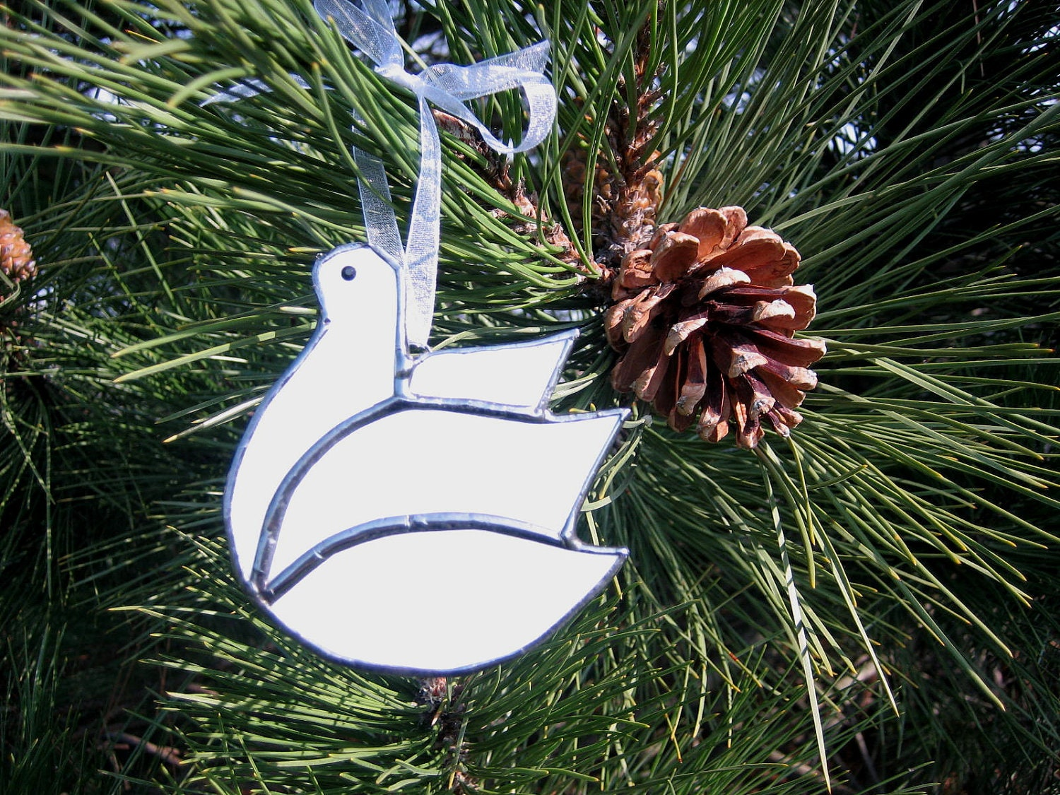 White Dove Ornament Dove Christmas Ornament Stained Glass