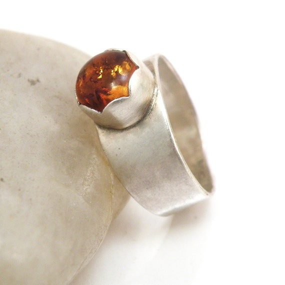 20% OFF SALE Amber Ring Sterling Silver Jewelry Modern Amber Jewelry - Amber Blooms