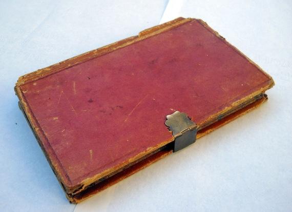 Antique Diary Journal Leather Bound Handwritten 1800s
