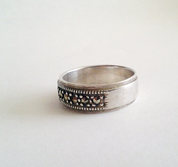 Sterling and Marcasite Wedding Band Ring signed 925 Elegant simple wide sz 7