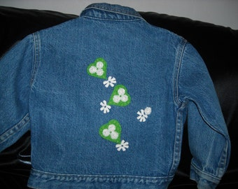 Girls upcycled and embellished denim jacket ON SALE!