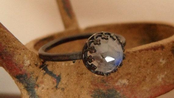 Sterling Silver Rosecut Rainbow Moonstone Ring - Everyday Elegance - Custom order - sizes 4 to 12