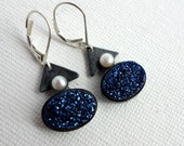 Blue Drusy and Pearl Leverback Dangles