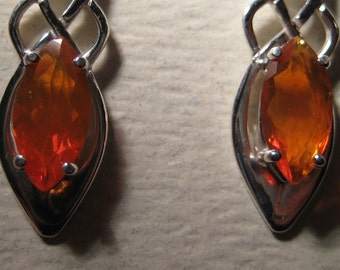 Glowing ORANGE...... Mexican Fire Opal ... Celtic Earrings ... Sterling Silver   ...    e334