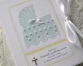 Baby Baptism Christening Photo Album Keepsake 4x6 Beaded Personallized Baby Bassinette Green and Yellow