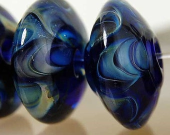Ocean Wave Discs , lampwork glass beads in different blue and green shades , glass beads by Beadfairy Lampwork, SRA