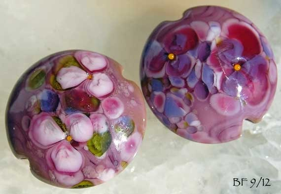 Hidden Flowers 2 Lampwork Beads lentil shape , purple and pink with flowers by Beadfairy Lampwork SRA