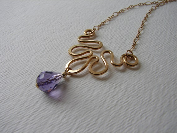 Gold Filled and Purple Crystal Necklace - Tanzanite Purple Crystal - Hand Forged Wire