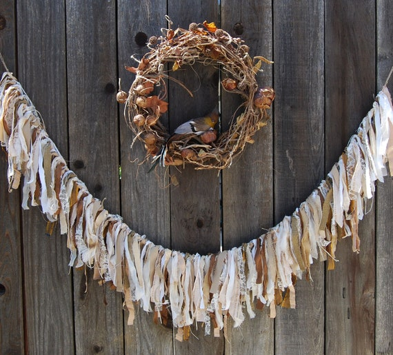 Clouds in My Coffee - Abandoned Vintage Burlap Linen and Lace Shabby Chic Wedding Rag Garland FunkyJunkyArt