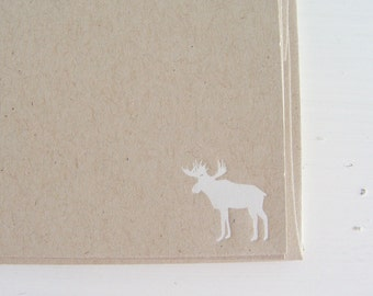 moose foil imprinted flat notecard set in kraft