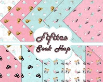Buy 1 Get 1 Free Fifities Sock Hop 50s Retro Soda Shop Milkshake Burger Diner 10 Digital Scrapbooking Paper Pack 12x12 300 dpi Printable