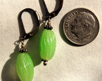 Vintage lime green glass beads from Japan and Bali Sterling silver pierced earrings