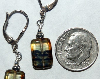 Smoky colored window pane glass beads and sterling silver lever back earrings