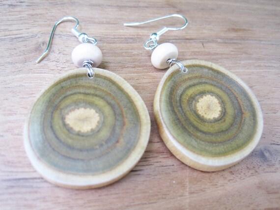 Wood Earrings - Branch Jewelry -Oval -  Medium Size - Beige - Sumac - Green - Target - Spiral - Earthy - Natural