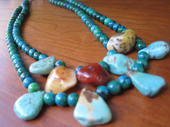 Jungle Tribal Inspired - Yellow - Orange - Turquoise -  Jewelry - Natural - Statement - Dangle - Multi Strand - Double - Gemstone - Earthy