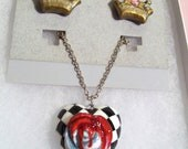 Alice in Wonderland- Queen of Hearts Necklace & Earrings Jewelry Set. Hand-crafted Polymer Clay. Red, white, black. Checkered. Crowns.
