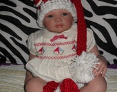 Candy cane baby girls Christmas Crochet set: Elf hat with flower and matching booties perfect for Photo prop