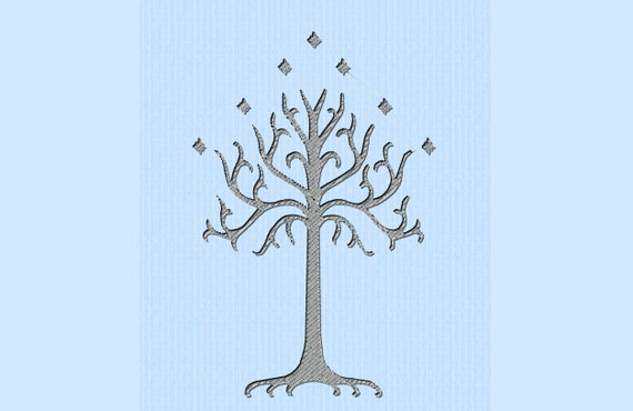 Lord of the Rings (LOTR) White Tree of Gondor Machine Embroidery Design File in Three Sizes