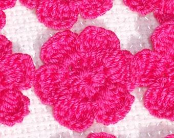12 handmade hot pink crochet applique flowers -- 2525