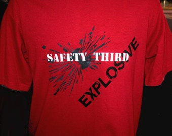 Explosive SAFETY THIRD tshirt - MENS red tshirt safety 3rd s - xxl Bomb firecracker shirt Pyro manly Burning Man Cardinal Lime Other etsybrc