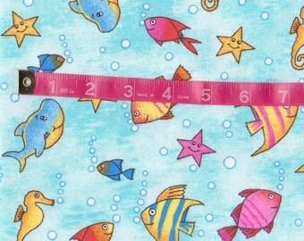 Fun Under The Sea Fish Flannel Fabric, Cotton. 29 X 44, (Last Chance)