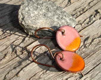 Handmade Enamelled Copper Disc Earrings, Dot, Round, Pink, Orange, Enamel Disc Earrings, Enamel on Copper Earrings, SRA (G160)