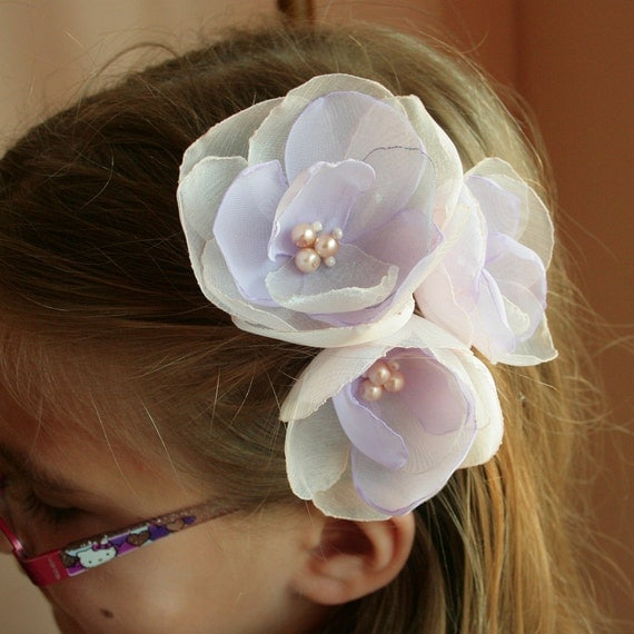 3 lilac/cream  flowers for Bride, bridesmaids and flower girls---head piece, hair pins
