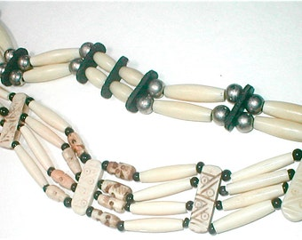Native American Bone Pipe Bead Necklaces Choker Length Classic Western Wear jewelry