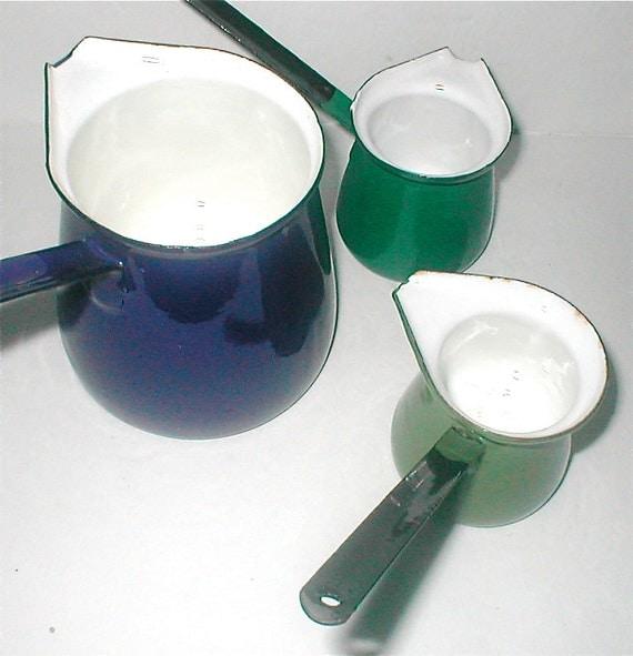 Yugoslavian Enamelware Pots - Butter Melter Small Sauce - Vintage 60s
