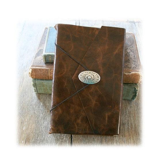 Leather Journal / Sketchbook / Wedding Guestbook . large 9x6 . Handmade Handbound . distressed dark brown (320pgs)