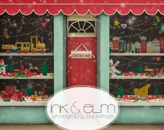 "Vinyl Photo Christmas Backdrop 5ft x 6ft, Photography Backdrop Christmas, Holiday Photo Backdrop Christmas Toy Shop, ""A Christmas Shop"""