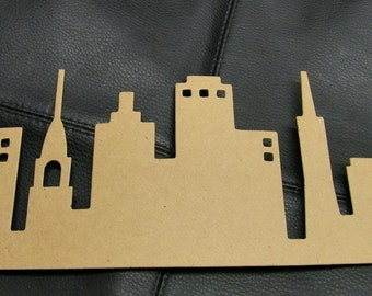 City Silhouette Die Cut from Kraft Chipboard Large 10.5 x 3.5 inches tall
