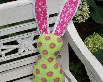Green and Pink Bits The Bunny Plush Rattle